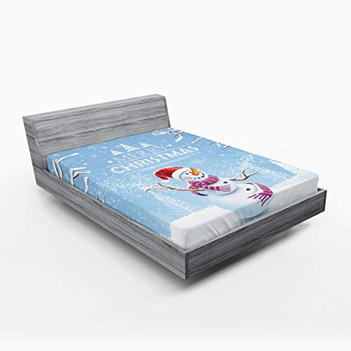 Ambesonne Christmas Fitted Sheet, Snowman in a Snowy Winter Day with Xmas Hat Frosty Noel Kids Nursery Theme, Bed Cover with All-Round Elastic Pocket for Comfort, California King, White Blue