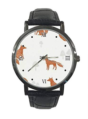 Fox Pattern Nuevo reloj de pulsera de cuarzo analógico de cuero de acero de moda simple