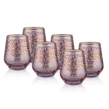 Porio M40-137 Tiara Pink Ivy Whiskey Glass