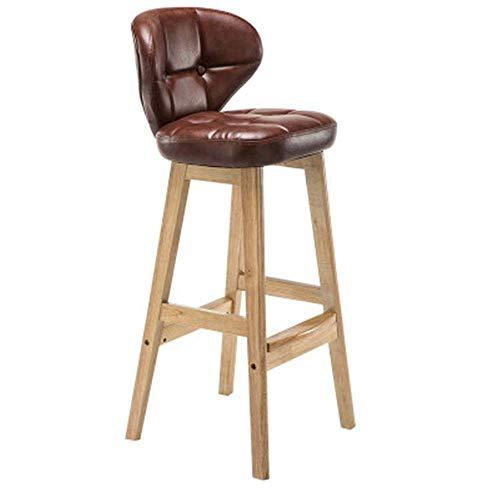 YINGGEXU Silla de comedor retro de madera maciza, taburete alto, taburete de restaurante, respaldo de bar, cajero, bar, bar, muebles para el hogar, silla alta compatible con la cocina barbería