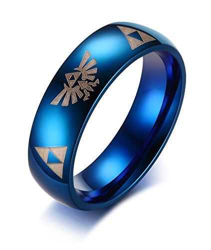 VNOX Edelstahl The Legend Zelda Triforce Hochzeit Verlobungsring für Männer Blau