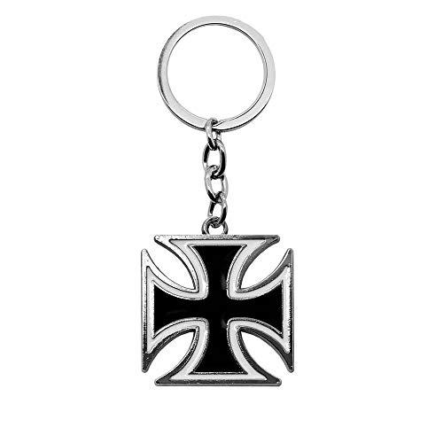 tumundo Schlüssel-Anhänger Eisernes Kreuz Mit Geschenk-Etui Iron Cross Anhänger Schlüsselband Schlüssel Weiß Rot Schwarz, Farbe:schwarz