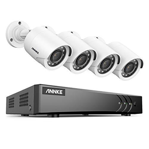 ANNKE 5MP 8CH Sistema di sorveglianza DVR H.265+ con 4 telecamera di sorveglianza 1080P esterni bullet bianca,avviso di movimento