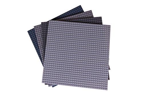 Strictly Briks - 4 Bases clásicas para Construir - para Hacer Torres, mesas y Mucho más - 100 {2fc370a4e1a95c52d11a8655d86d1fd6afac25ddbd8f9ce4b7334a327ee389eb} Compatible con Todas Las Grandes Marcas - 25,4 x 25,4 cm - Escala de Grises