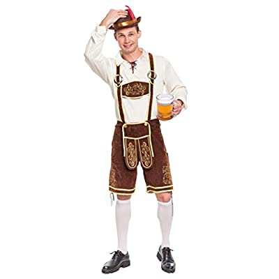 Spooktacular Creations Men's German Bavarian Oktoberfest Costume Set for Halloween Dress Up Party and Beer Festival (Large) Brown from