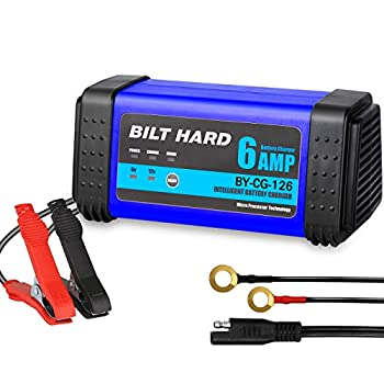 BILT HARD 6V/3A 12V/6A Smart Battery Charger Fully-Automatic 7-Stage Trickle Battery Charger and Maintainer for Car Boat RV ATV Motorcycle Lawn Mower Sealed Lead Acid Battery