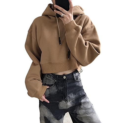 L-ELEGANT Mujeres Casual Sudadera,Corto Fashion Saco Pullover para Señoras,Cosecha Color Sólido Sweatshirt Suelto Hoodie Manga Larga Cordón Chaleco-Marrón One Size