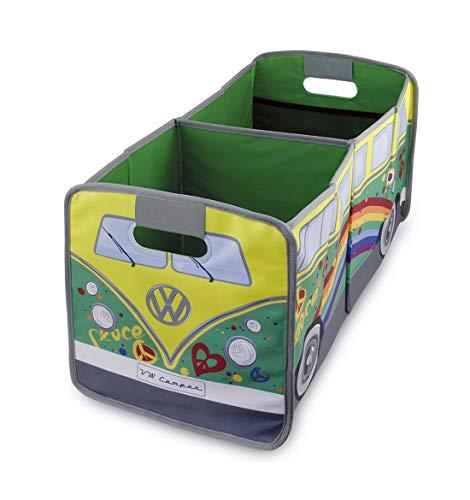 BRISA VW Collection - Volkswagen VW T1 Bulli Bus Falt-Aufbewahrungs-Box, Kofferraum-Tasche, Stauraum für Einkäufe, Spielzeug, Alltagsgegenstände, Auto-Zubehör (Peace)