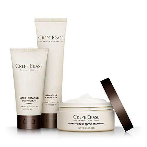 Crepe Erase – Starter Daily 3 Piece Kit – Intensive Body Repair Treatment – Exfoliating Body Polish – Ultra Hydrating Body Lotion – TruFirm Complex
