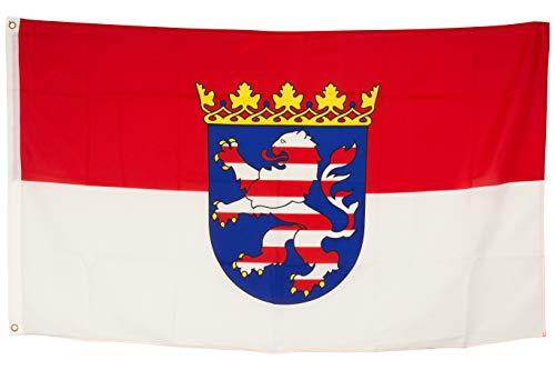 SCAMODA Bundes- und Länderflagge aus wetterfestem Material mit Metallösen (Hessen) 150x90cm