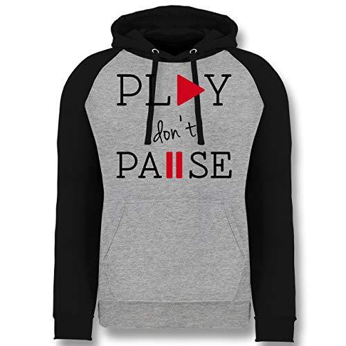 Shirtracer Statement - Play Don't Pause - XL - Grau meliert/Schwarz - Geschenk - JH009 - Baseball Hoodie