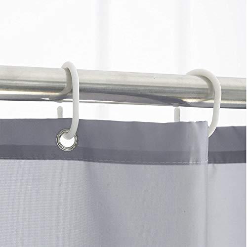 Dehomeシャワーカーテンお風呂用目隠し防カビ防水防寒保温高級感ありリング付き100x180cmグレー