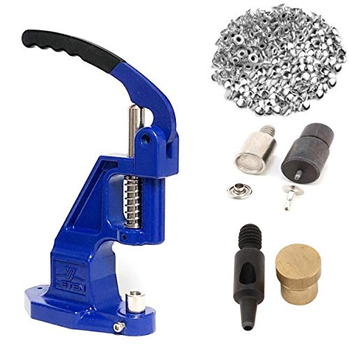 9mm Rivets Kit (1000 pcs) with Hand Press Machine, Dies and Hole Punch. Leather Rivets Single Round Cap Metal Stud Fasteners for Bag Belt Wallet Jeans
