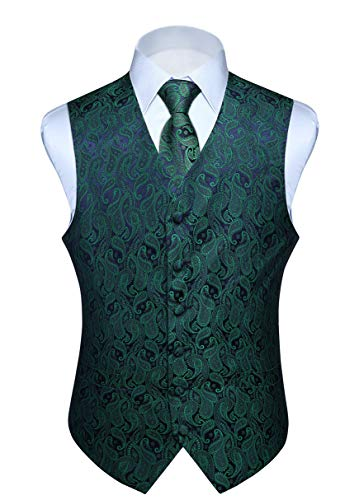Hisdern Manner Paisley Floral Jacquard Weste & Krawatte und Einstecktuch Weste Anzug Set, Grün und Lila, Gr.-L (Brust 46 Zoll)