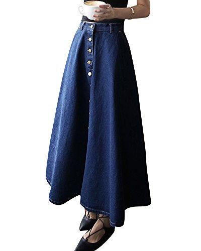ZhuiKun Mujers Faldas Largas de Fiesta Denim Falda de Mezclilla Jean Falda Vaquera Larga Azul Marino L