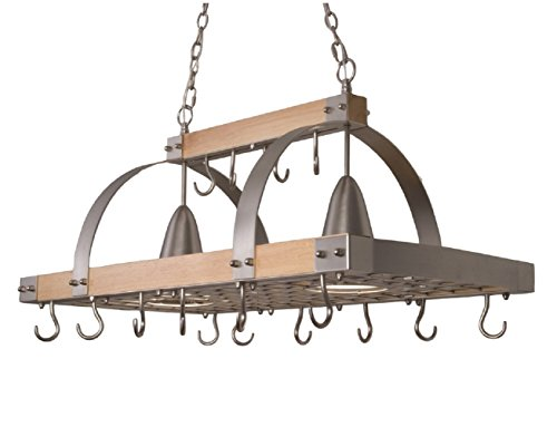 Elegant Designs PR1001-WOD 2 Light Kitchen Wood Pot Rack with Downlights, Wood with Brushed Nickel Accents