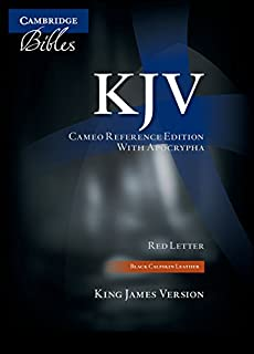 KJV Cameo Reference Bible with Apocrypha, Black Calfskin Leather, Red-letter Text, KJ455:XRA Black Calfskin Leather