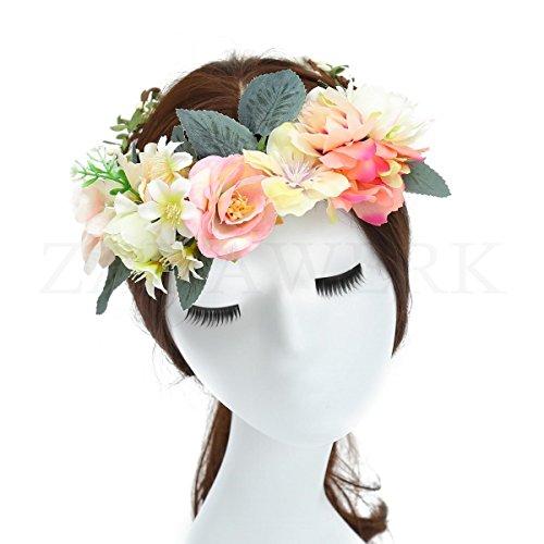 ZADAWERK® Blumenkranz - Apricot - Haarschmuck für JGA, Hochzeit, Festival