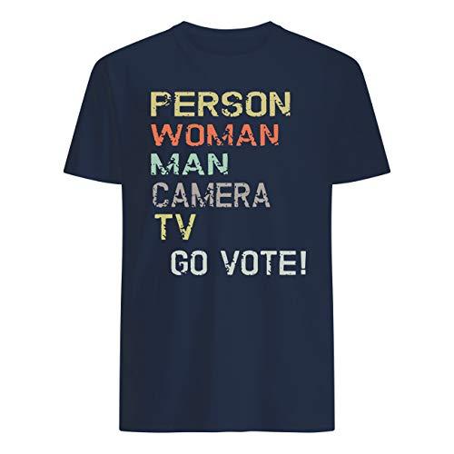 AKDesigns - Camiseta para hombre, mujer, cámara, TV, Go Vote! Azul azul...