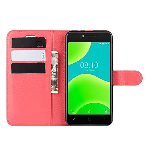 DAMAIJIA für Wiko Y50 Hüllen Klapphülle PU Leder Silikon Wallet Schutzhülle Schutz Mobiltelefon Flip Back Cover für Wiko Sunny 4 Sunny4 Tasche Handy Zubehör (red)