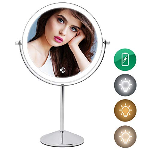 Rechargeable Lighted Makeup Mirror, 8 Inch Double Sided Makeup Vanity Mirror with 3 Colors lighting, 10X Magnifying mirror, Touch Sensor Dimming, Tabletop Round Cosmetic Light Up Mirror