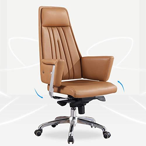 ZHFC Silla de Oficina con respaldo alto - Mesa de ordenador ergonómica y silla de cuero, regulable en altura 360 grados, ideal para el hogar y la oficina
