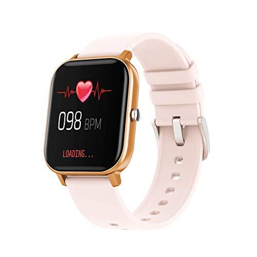 DCU TECNOLOGIC | Smartwatch | Reloj Inteligente Curved Glass | Pulsera de Actividad IP67 | Pulsómetro y Monitor de presión Arterial | Control del Ciclo Femenino | Multideporte (Melocotón)