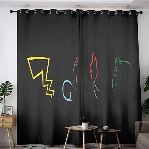 Elliot Dorothy Pikachu pokemon de dibujos animados TV niños cortinas térmicas con ojal opacas cortinas opacas cortina de ventana para niños niñas habitación W55 x L45