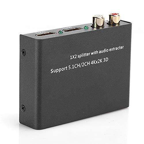 Extractor de Audio HDMI, Divisor HDMI 1 Entrada 2 Salida Soporte de Distribuidor HDMI 4K 1080P 3D, Adaptador de Extractor de Audio para PS4/HDTV/DVD/Pantalla del proyector(Negro)