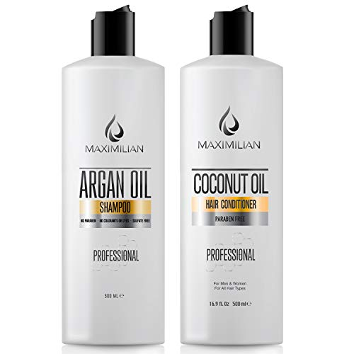 MAXIMILIAN Argan Oil Shampoo- Hair Growth Shampoo And Coconut Oil Conditioner- Sulfate Free Shampoo And Conditioner For Color Treated Hair Best For Damaged, Dry, Curly, Frizzy Hair (2x16.9 Fl Oz)