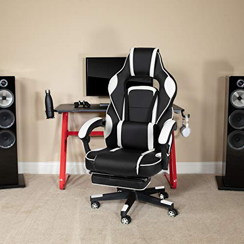 Flash Furniture X40 Gaming Chair Racing Ergonomic Computer Chair with Fully Reclining Back/Arms, Slide-Out Footrest, Massaging Lumbar - White