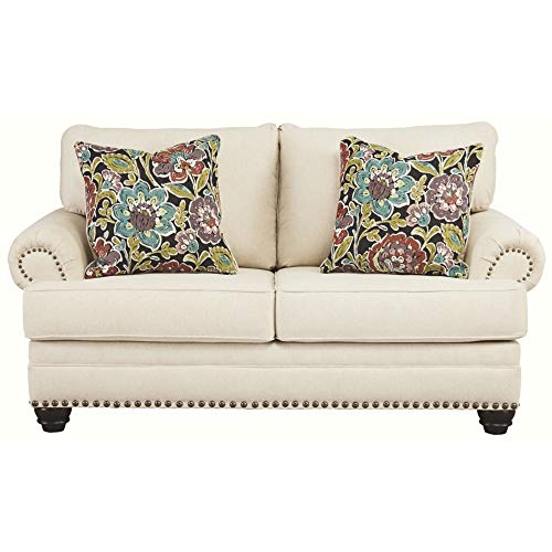 Signature Design by Ashley - Harrietson Loveseat w/ Nailhead Trim and 2 Pillows, Off-White