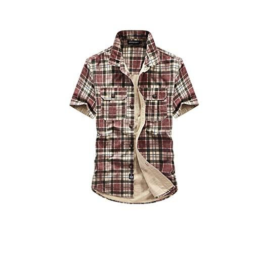 Neue kurzärmlige Hemden, Casual Plaid-Hemden der Männer, stilvolle Revers-Strickjacken, schlanke und komfortable Jacken XXXL