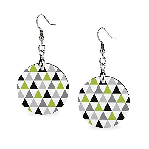 Pendientes de madera de verano de moda colgantes ligeros pendientes redondos círculo pendientes para mujeres niñas, verde lima, gris y negro triángulos en blanco
