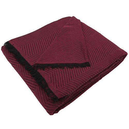MERCURY TEXTIL- Colcha Multiusos Sofa,Manta Foulard,Plaid para Cama,Cubresofa Cubrecama,jarapas,Comoda Practica y Suave. Poliester Algodón (180 x 260cm, Espiga Granate Negro)