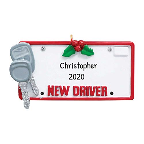 Personalized New Driver Christmas Tree Ornament 2019 - White Glitter License Plate Car Keys ID Grand-Son Fun Friend Permit Teen Holiday Motor Gender Neutral Gift - Free Customization