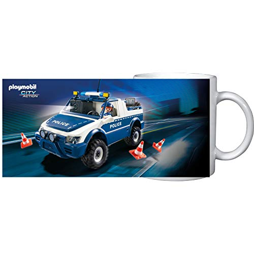 PLAYMOBIL United Labels City Action-Tasse Becher Cup Kaffee Polizei, 320 ml, Bunt, 320Ml