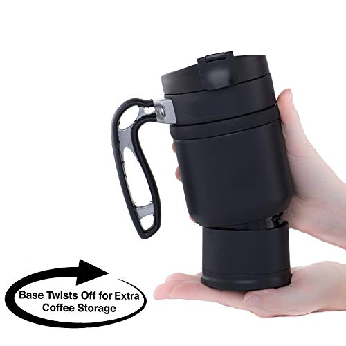 BruTrek Double Shot 3.0 Travel French Press Coffee Mug - Bru-Stop Insulated Stainless Steel Mug with Non-Slip Grip, Obsidian, 16 oz Cup