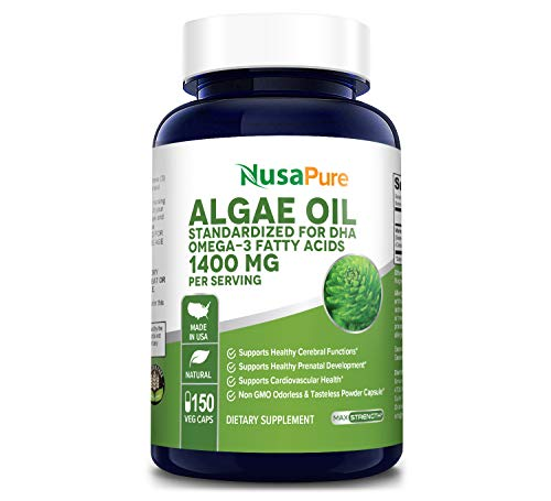 Omega 3 - Algae Oil 1400mg 150 Vegetarian Powder Capsules (Non-GMO & Gluten Free) Marine Algal Source of DHA Fatty Acids