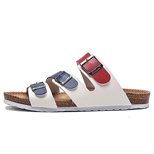 Zapatillas de verano case,Comercio exterior Ruixin Nueva palabra Drag Slippers NUEVO Pareja Hombres y mujeres Sandalias Solillas de corcho Zapatos de playa Fabricantes Suministro directo-Rojo blanco