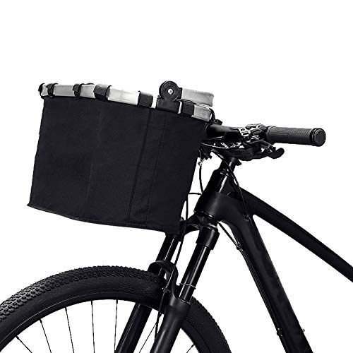 HUILAN Pet Dog Bike Basket Front Carrier Bag - Foldable Detachable Pet Travel Bag Bicycle Basket - Small Animal Dog Cat Rabbit Bike Ride Basket Handbag