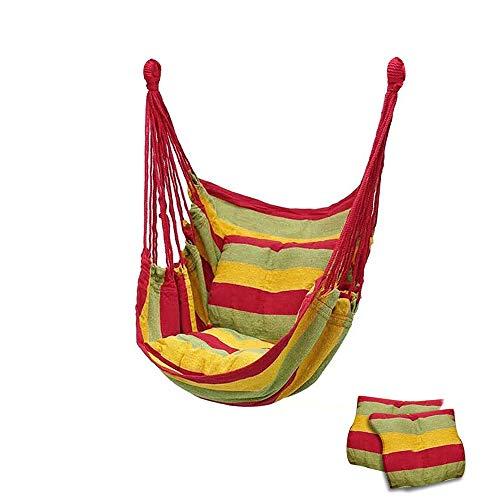 73HA73 Hamaca Silla Columpio Viaje Camping Lona Hamaca Dormitorio Colgante para Adultos Niños Silla de Relajación Portátil con Almohadas,Red