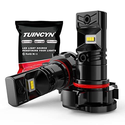 TUINCYN PSX24W Ampoules antibrouillard LED 6500K 1600LM Blanc CSP Chips 2504 DRL Feux de Jour Feux de Remplacement Antibrouillard 80W 12V-24V DC (Pack de 2)