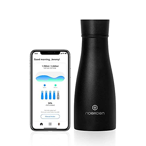 NOERDEN - Botella Inteligente LIZ 350 - Botella de Agua Autolimpiable de Acero Inoxidable - Tapa sin BPA, Esterilización UV, Recordatorio de Hidratación e Indicador LED de Temperatura - 0,35l - Negro