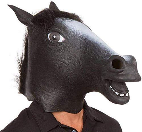 NIUMM Halloween Maske Pferdemaske Für Halloween Maske Latex Tiermaske Pferdekopf Pferdekostüm Für Erwachsene Und Kinder-Schwarz