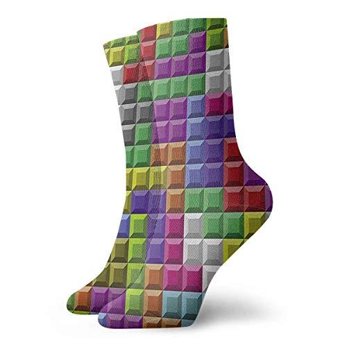 ouyjian Triple Tetris Cool Novelty Long Sock Crew Athletic Tube High Stockings Sport