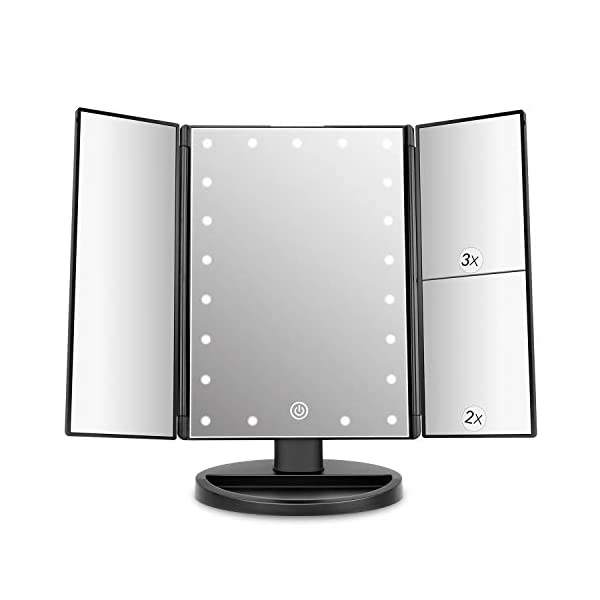 Beauty Shopping deweisn Tri-Fold Lighted Vanity Mirror with 21 LED Lights, Touch Screen and 3X/2X/1X