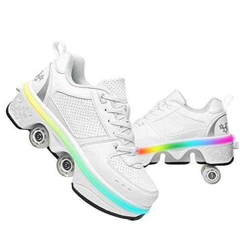 Deformation roller skate for women shoes that turn into rollerskates sneakers skates Retractable kickrollers skating outdoor light shoes with wheels for Boys girls (Low white~LED, EU 38(US 7.5))