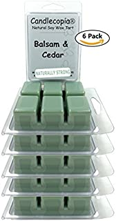Candlecopia Balsam & Cedar Strongly Scented Sustainable Vegan Natural Soy Wax Melts, 36 Soy Wax Cubes, 19.2 Ounces in 6 x 6-Packs