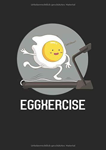 Notizbuch A4 dotted, gepunktet, punktiert mit Softcover Design: Witziges Laufen Joggen Ei auf Laufband Marathon Geschenk: 120 dotted (Punktgitter) DIN A4 Seiten